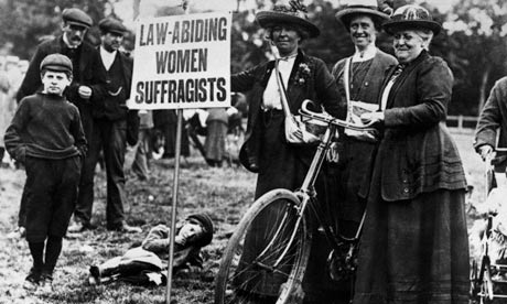 Suffragettes cycle to meeting